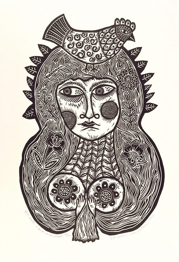 Girl With A Bird On Her Head 1990 Twelve Linocuts A
