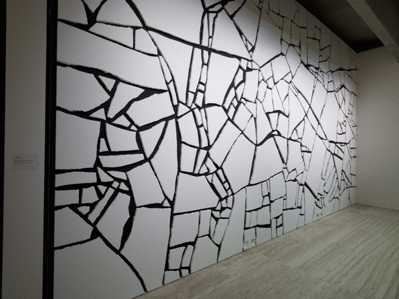 White styrofoam on black wall 1994 by sol lewitt the for Black wall art