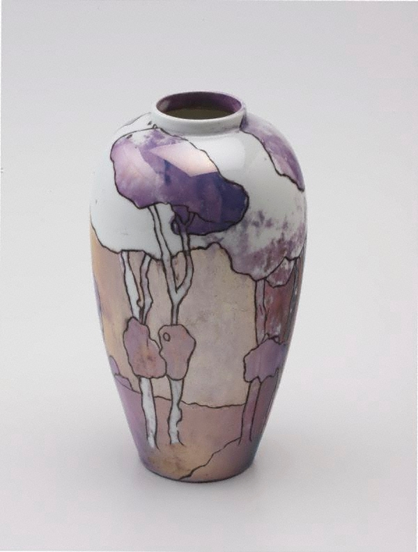 Vase With Landscape And Tree Design 1913 By Ada Ione Newman