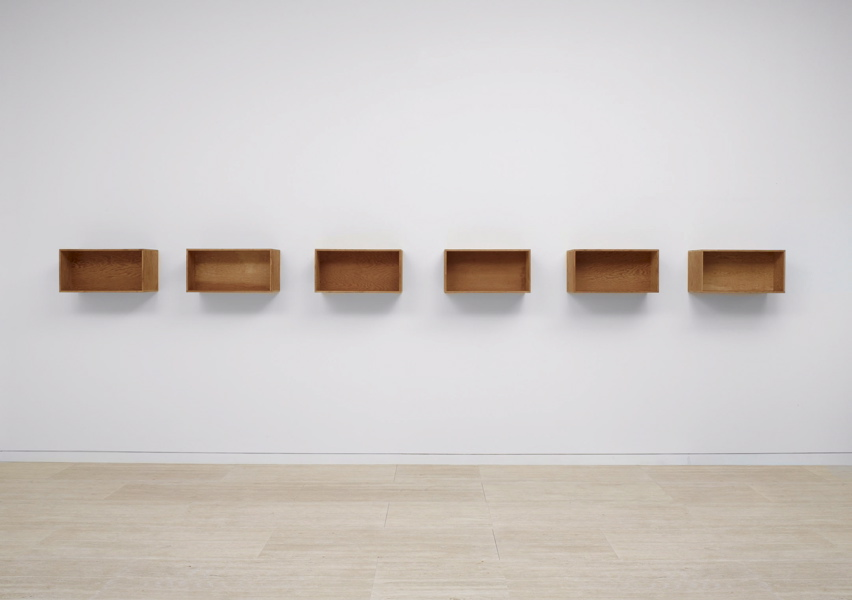 Donald Judd, Untitled, 1975, Douglas fir plywood, in 6 parts, each: 30.5 by 61 cm., Art Gallery of New South Wales, Sydney (donated by the John Kaldor Family Collection in 2011)