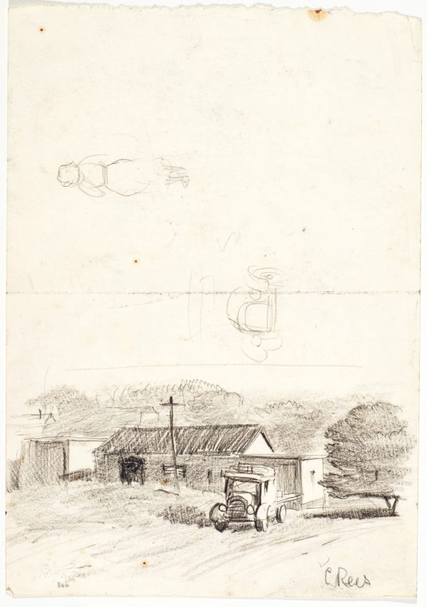 recto: Farmhouse and truck, Studies of truck and a woman