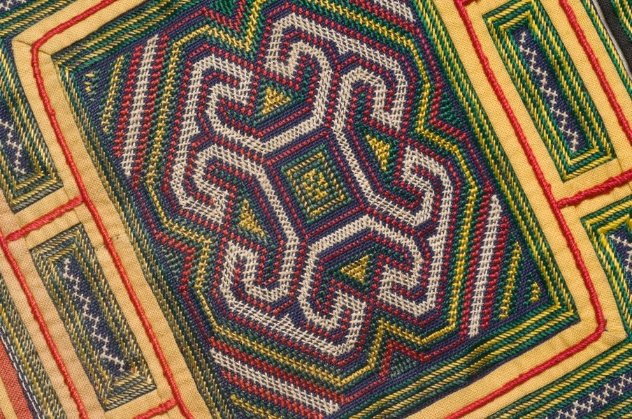 Yellow embroidered cape, (20th century) by Miao people ... Miao People Art