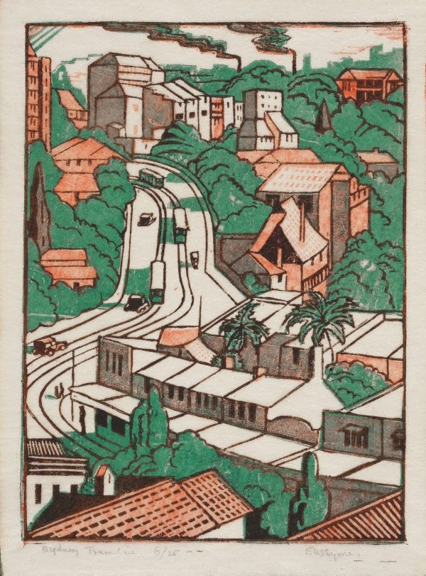 sydney tram line 1936 by eveline syme the collection art