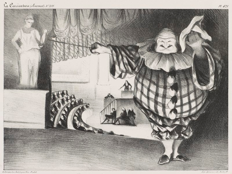 Bring down the curtain the farce is over 1834 by for What is farcical used for