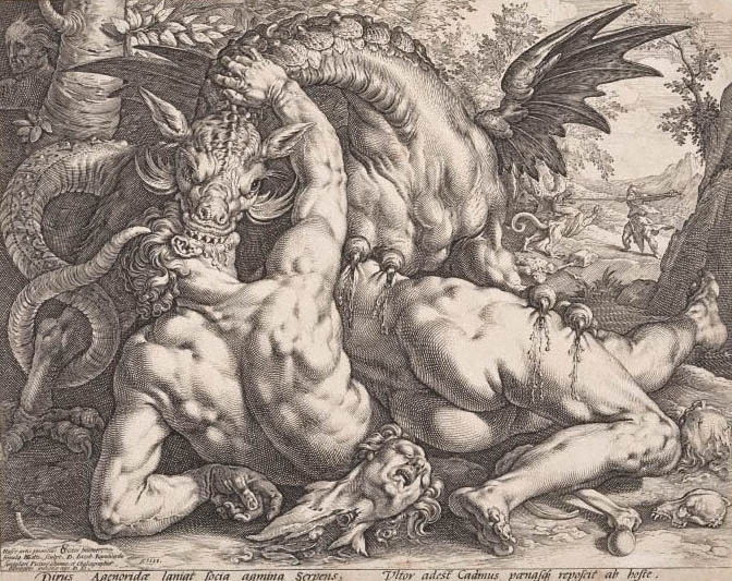 Image result for the dragon devouring the companions of cadmus