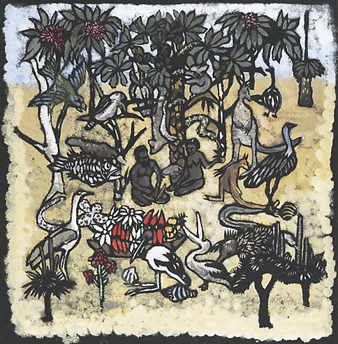Adam And Eve In The Garden Of Eden 1950 By Margaret Preston The Collection Art Gallery Nsw