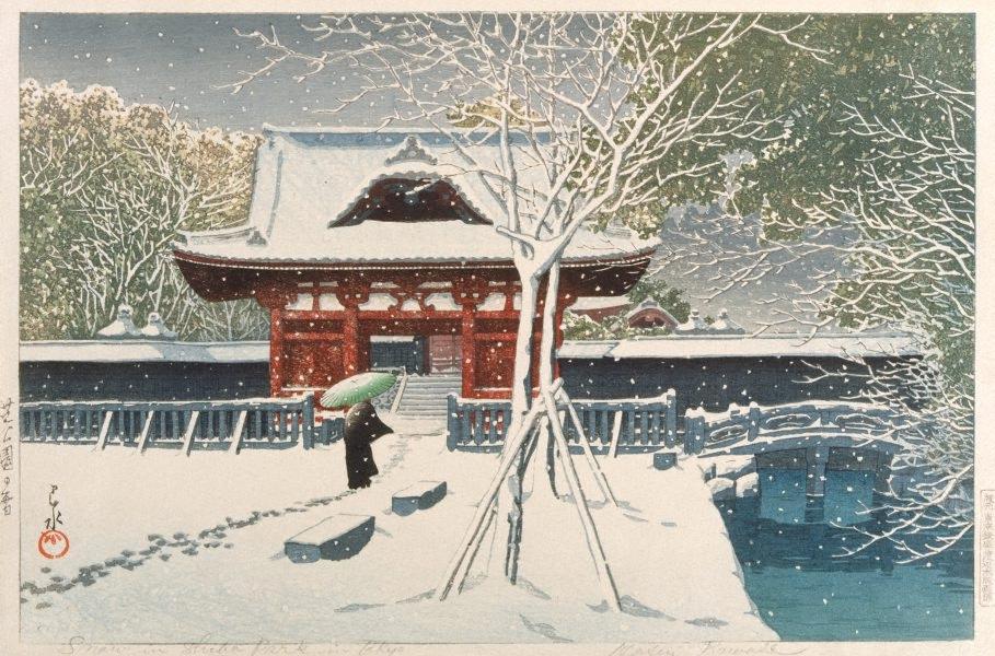 Snow in Shiba Park, Tokyo, 1931 by Kawase Hasui :: Art Gallery NSW
