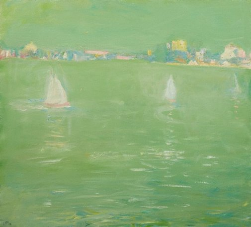 An image of Three boats - Lane Cove River by Lloyd Rees