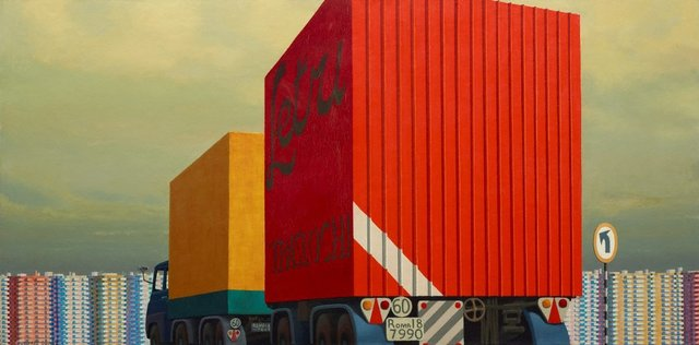 Truck and trailer approaching a city, 1973 by Jeffrey Smart