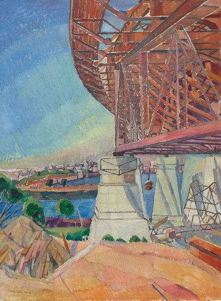 An image of The curve of the bridge by Grace Cossington Smith
