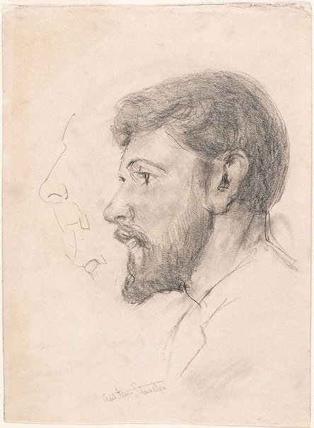 An image of recto: Arthur Streeton (Study for 'Smike Streeton age 24') verso: (study of a veiled woman) by Tom Roberts