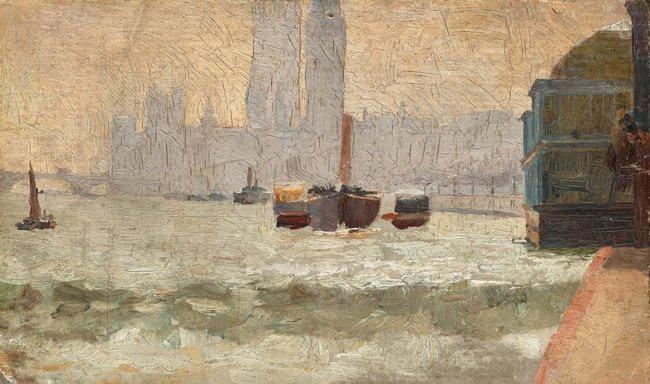 AGNSW collection Tom Roberts Fog, Thames Embankment 1884