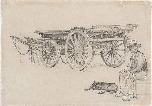 An image of The wool wagon by George W Lambert