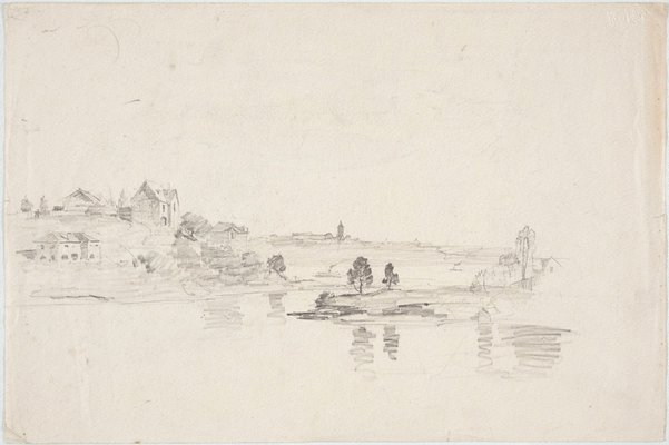 Alternate image of recto: Study for 'Spring sunshine' verso: Harbour with houses by Lloyd Rees