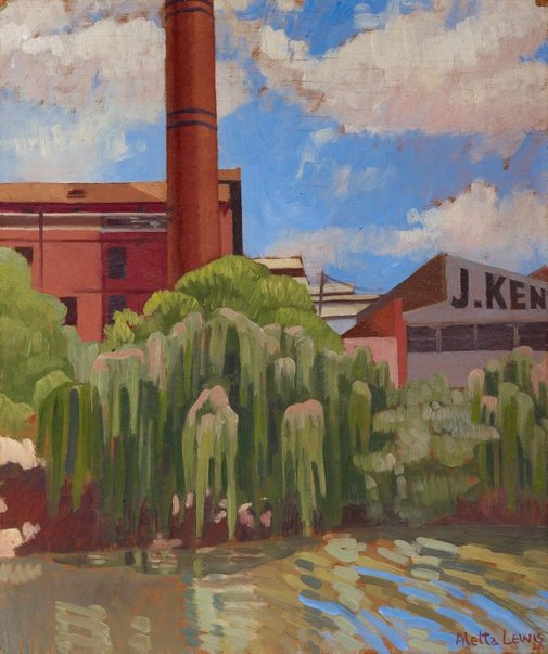 An image of Factories on the Yarra by Aletta Lewis