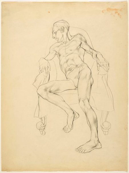 An image of Life study (John Passmore, artist, reclining) by Adelaide Perry