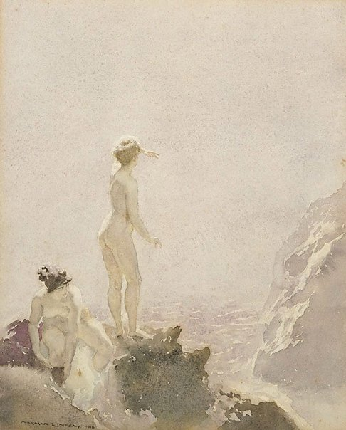 An image of On the rocks by Norman Lindsay