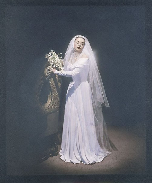 An image of Fashion illustration (Patricia Tuckwell in bridal dress) by Athol Shmith