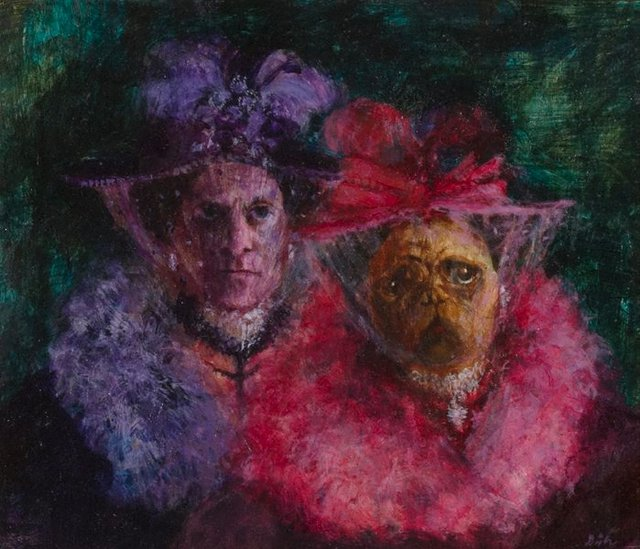An image of The Misses Patricia and Ethel White (portrait of Patrick White and pug dog)