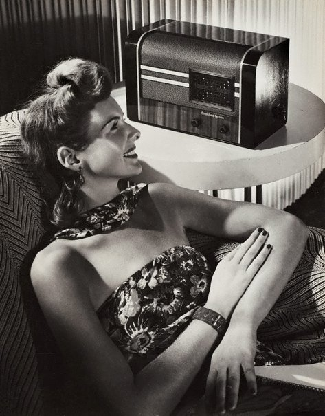 An image of Untitled (listening to Stromberg-Carlson radio) by Max Dupain