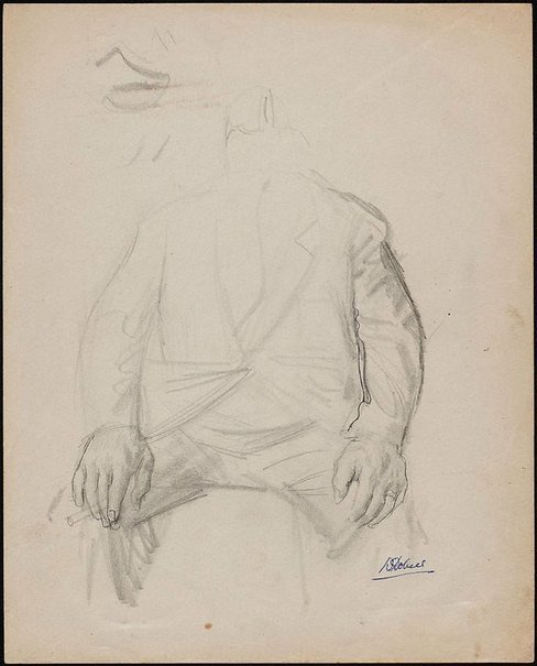 An image of (Study for a portrait of a man holding cigarette) by William Dobell