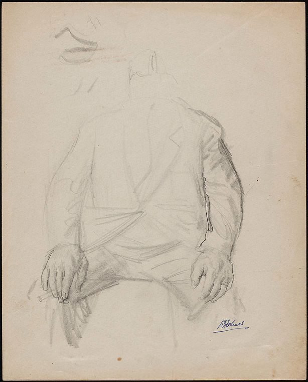 An image of (Study for a portrait of a man holding cigarette)