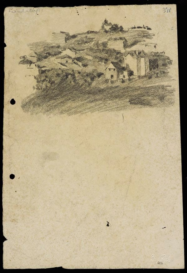 An image of recto: Landscape with houses from Woollahra I verso: portraits