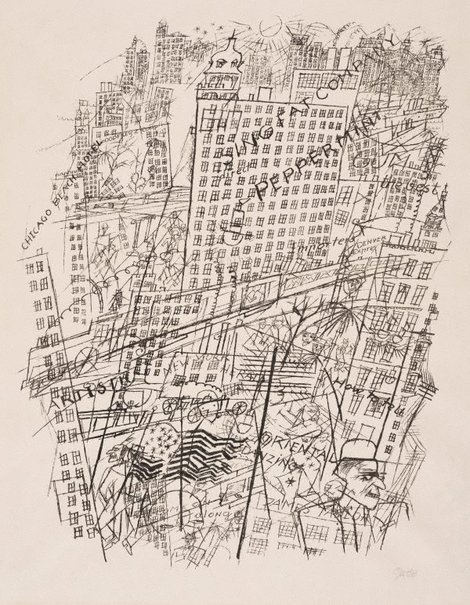 An image of Memory of New York by George Grosz