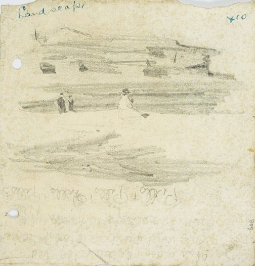 An image of recto: Beachscape with figures verso: Three figures from behind by Lloyd Rees