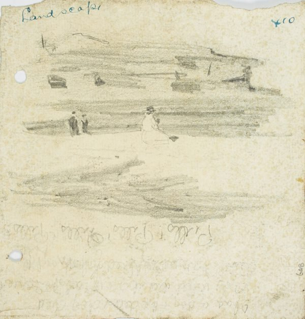 An image of recto: Beachscape with figures verso: Three figures from behind