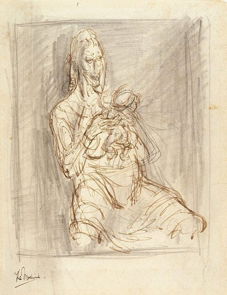 An image of Study for Mother and child by William Dobell