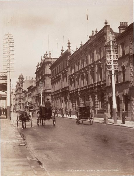 An image of Pitt St looking South from Bridge St. Sydney by Unknown, NSW Government Printer