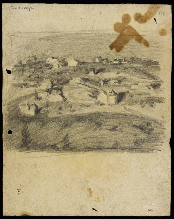 An image of recto: Landscape with houses from Woollahra II verso: Vase [upside down]