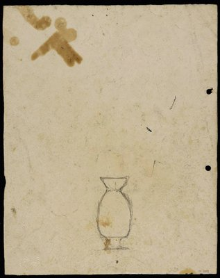 Alternate image of recto: Landscape with houses from Woollahra II verso: Vase [upside down] by Lloyd Rees