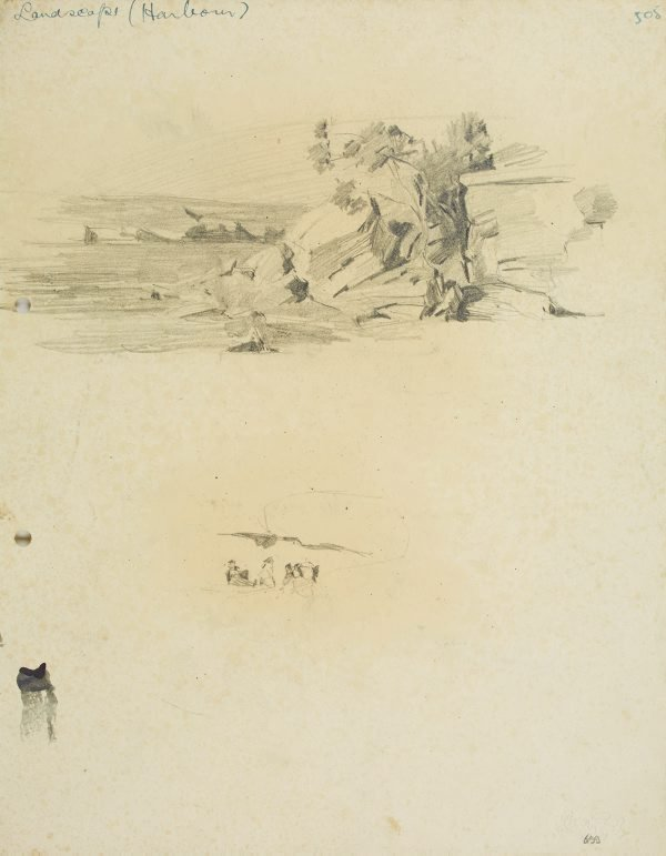 An image of recto: Harbour landscape and Group of people verso: Two studies of figure by a cliff