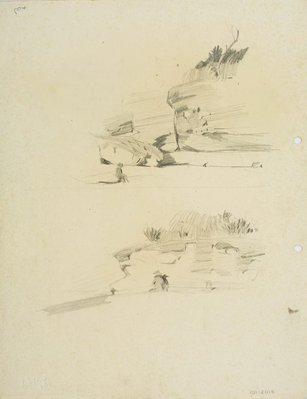 Alternate image of recto: Harbour landscape and Group of people verso: Two studies of figure by a cliff by Lloyd Rees