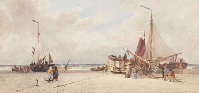 An image of Repairing a pink, Scheviningen Beach