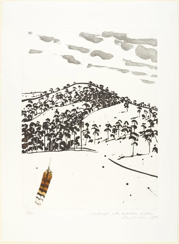 An image of Landscape with kookaburra feather