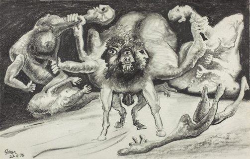 An image of Sketch for 'The battle of the Centaurs and Lapiths', Ingres Pad no. 3 by James Gleeson