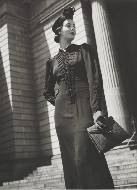 An image of Untitled (fashion illustration: model on the steps of the State Library) by Max Dupain