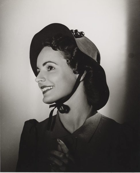 An image of Untitled (fashion illustration: model with a bonnet) by Max Dupain