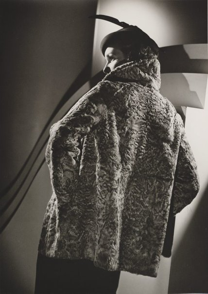 An image of Untitled (fashion illustration: model in a large fur coat) by Max Dupain