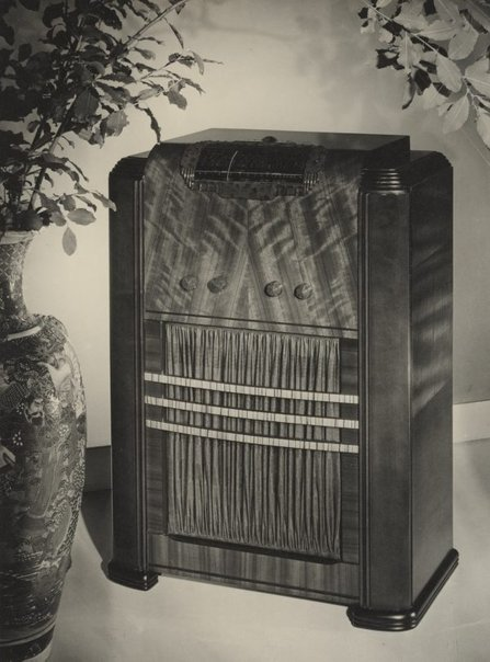 An image of Untitled (wireless advertisement: with pot plant) by Max Dupain