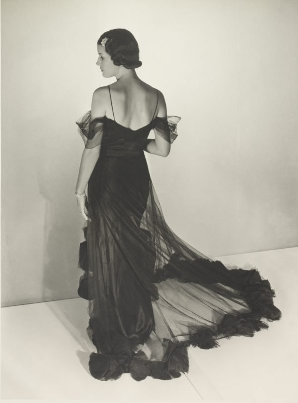 An image of Untitled (fashion illustration: model in a sheer gown)