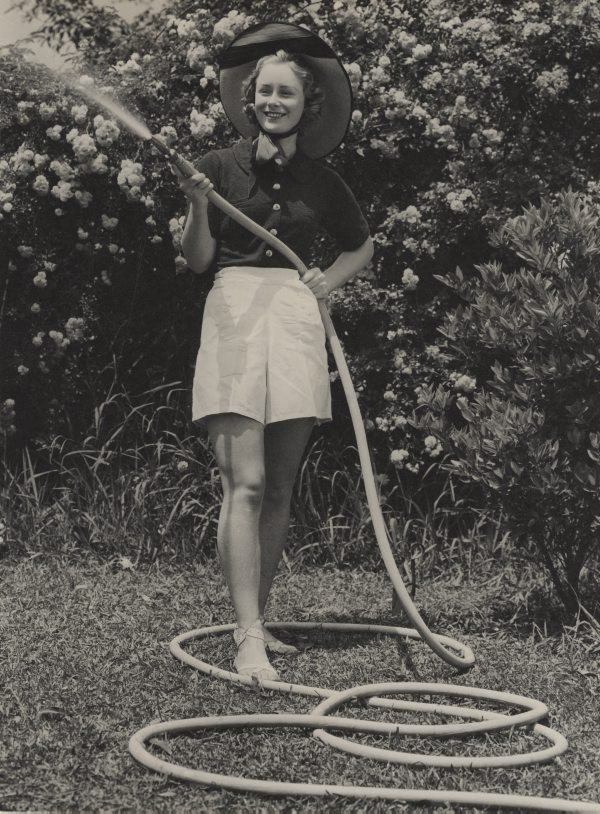 An image of Untitled (fashion illustration: woman with hose)