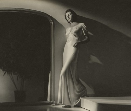 An image of Untitled (fashion illustration - woman - mirror) by Max Dupain