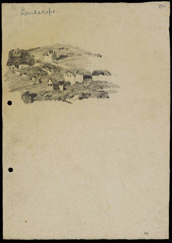 An image of recto: Landscape with houses from Woollahra III verso: Landscape and clouds