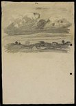 Alternate image of recto: Landscape with houses from Woollahra III verso: Landscape and clouds by Lloyd Rees