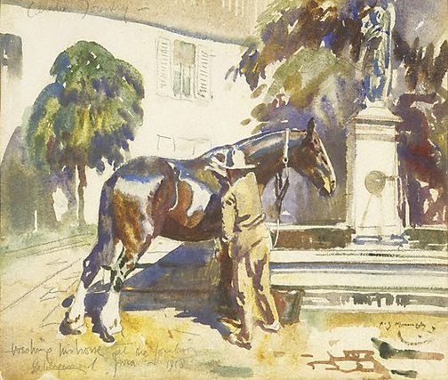 An image of A Canadian soldier by Sir Alfred Munnings