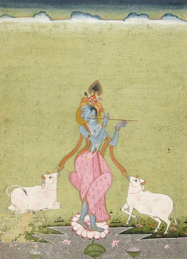 An image of Krishna as the divine cowherd (orange border)